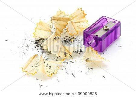 Pencil sharpener and wooden shavings