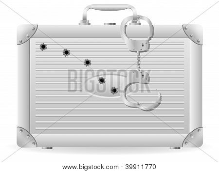 Metal Suitcase With Handcuffs Riddled With Bullets Vector Illustration