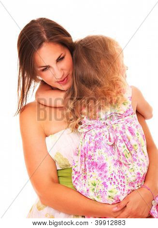 A picture of a young mother comforting her daughter over white background