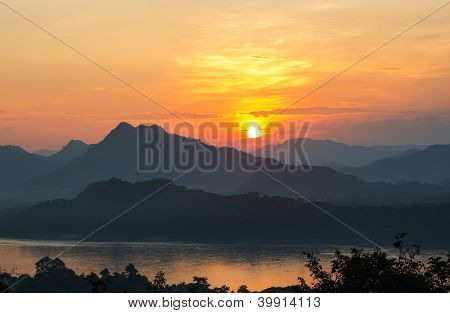 Sunset scene in Luang Prabang