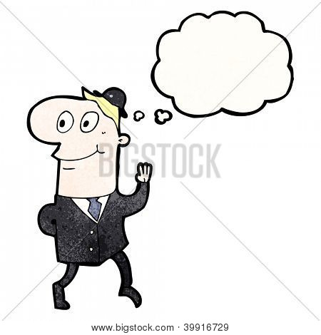 cartoon waving banker