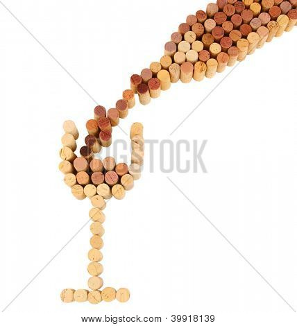 Wine corks shaped into a wineglass and bottle with wine pouring into the glass. Square format on a white background.