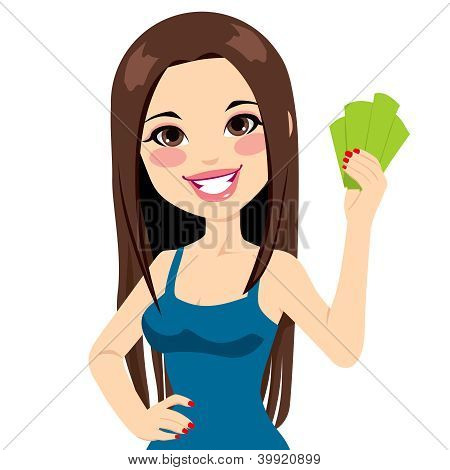 Girl Holding Bank Notes