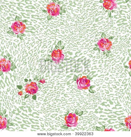 beautiful leo and roses seamless background
