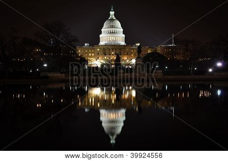 Washington DC - US Capitol building and its reflection on pool - night scene