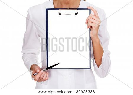 medical female doctor holding blank billboard isolated on white