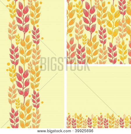 Set of wheat plants seamless pattern and borders backgrounds