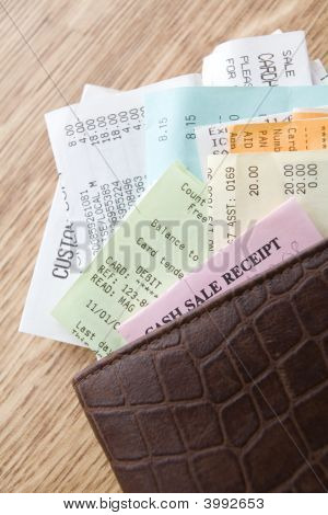 Leather Wallet Filled With Receipts