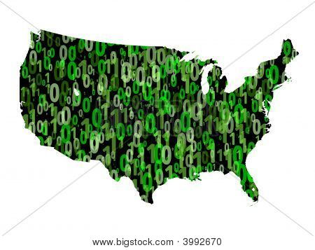 Usa Map With Binary Code