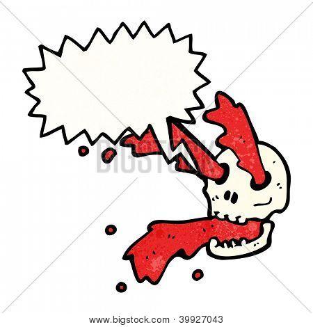 cartoon blood spurting skull