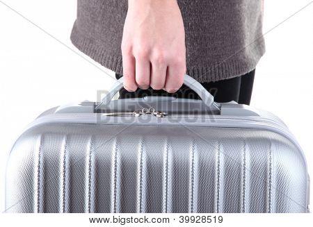 Koffer in der hand halten, isolated on white