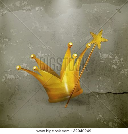 Magic wand and crown, old-style vector