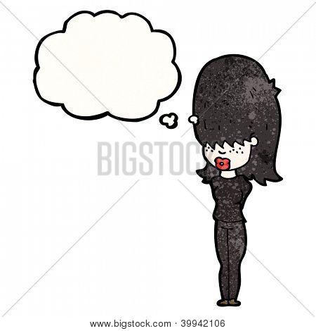 cartoon goth girl dressed in black