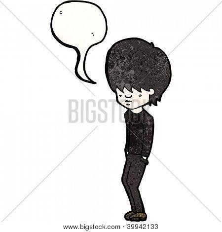 cartoon goth boy dressed in black