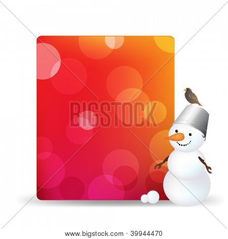 Blank Gift Tag With Snowman And Bird, Isolated On White Background With Gradient Mesh, Vector Illustration