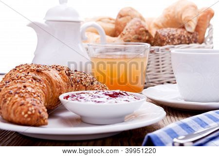 Healthy French Breakfast Coffee Croissant