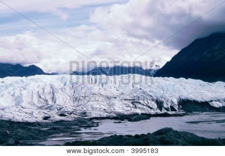 Matanuska Glacier Between Mountain Range