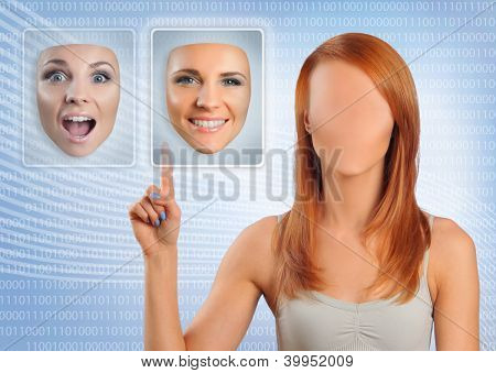mujer sin rostro elegir cara feliz