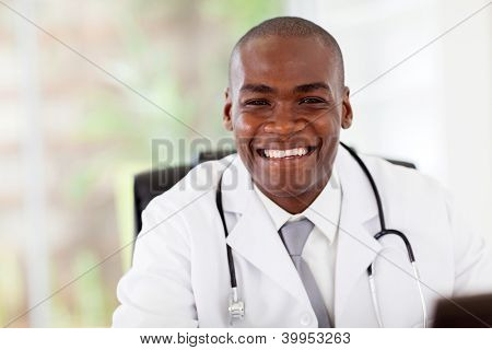 friendly african american doctor in modern office