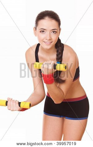 Woman Doing Fitness Exercises With Weights