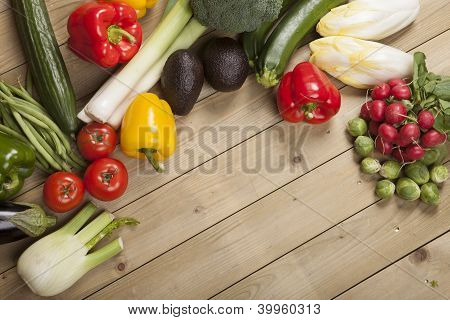 Vegetables on wooden surface