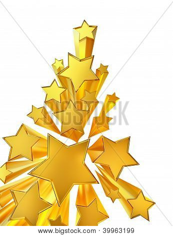 moving golden stars on white background