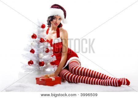 Woman With A Gift And A Christmas-Tree