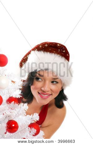 Woman With Christmas-Tree