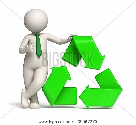 3D Man - Green Recycle Icon And Thumbs Up