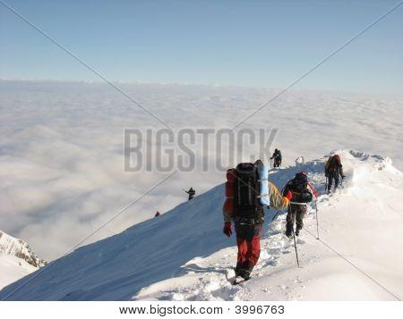 Hiking on Snowy Mountain