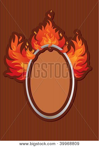 Oval Frame With Spurts Of Flame On Stripe Dark Background