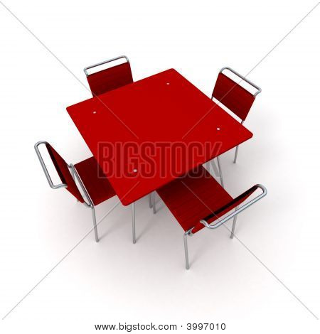 Table And Chairs In Red