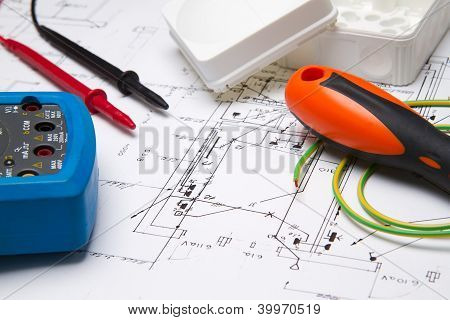 Electrical Instruments On Blueprint