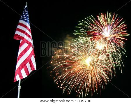 Fuegos artificiales de la bandera