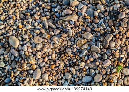 beautiful pebbles stones  of etretat beach in seine maritime normandie france