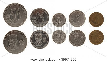 Ecuadorian centavo coins isolated on white
