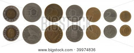 Hungarian forint coins isolated on white