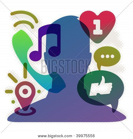 Abstract background with social network icons, vector Eps10 illustration.