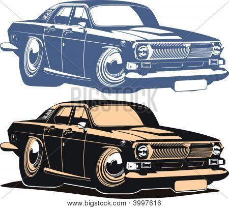 Vector Cartoon Retro Muscle Car