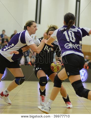 SIOFOK, HUNGARY - NOVEMBER 17: Annamaria Bogdanovic (black 14) in action at EHF Cup handball match Siofok (black) (HUN) vs. Astrakhanochka (purple) (RUS) November 17, 2012 in Siofok, Hungary.