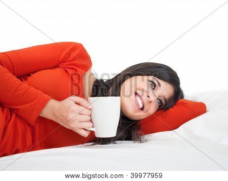 Tranquility Relaxing Woman In Bed