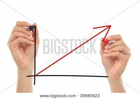 Women Hands Drawing A Growth Graphic In The Air