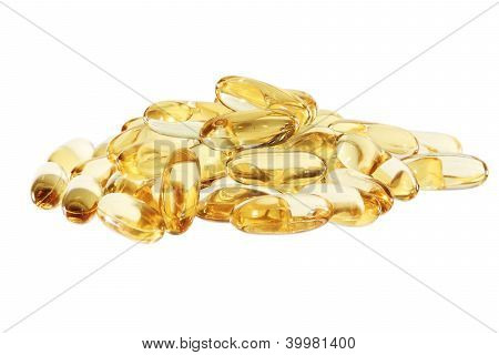 Cod-liver Fish Oil In Tablets Or Pills Horisontal