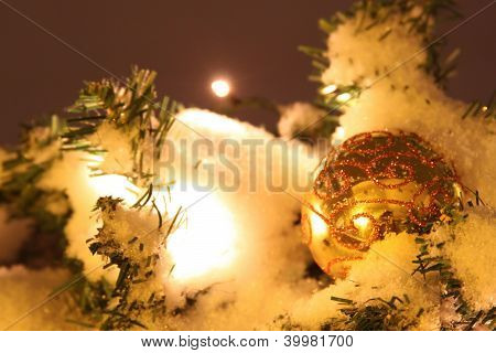 Xmas Ball In The Night With Fire Garland