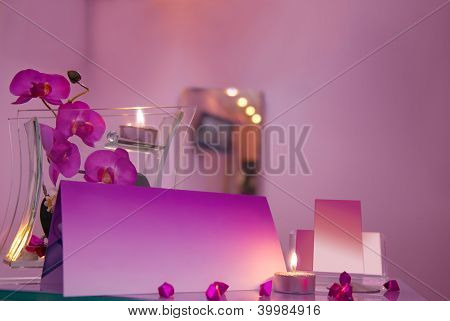 Interior Of Luxury Hair Salon With Blank Business Cards
