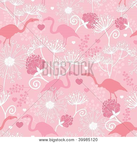 Pink flamingo in love vector seamless pattern background