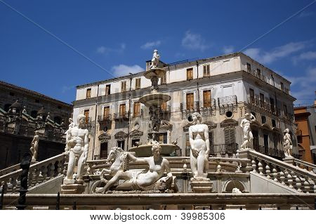 Fontana Pretoria In Palermo, Sicily Is Also Called Fountain Of Shame, Because Of The Nude Figures