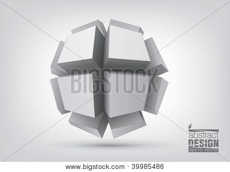 Vector polyhedron with rectangular extruded faces for graphic design. You can change colors