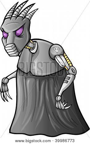 Alien Cyborg Warrior Vector Illustration Art