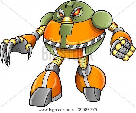 Grande guerreiro robô Cyborg Soldier Vector